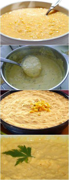 MARAVILHOSO CREME DE MILHO..APRENDA E FAÇA HOJE MESMO! VEJA AQUI>>>Em um liquidificador, bata o leite com metade do milho-verde. Reserve. Em uma panela, aqueça a manteiga até derreter e refogue a cebola. #CREME#MILHO Food L, Good Food, Brazillian Food, Brazilian Dishes, Pasta, Carne, Brunch, Food And Drink, Veggies