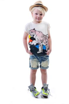 Mountain Leopard tee (Collaboration with Sandra Dieckmann) denim Kerouac Shorts and Duke Straw Hat | Rock Your Kid summer 14 / 15 |