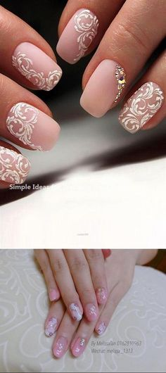 35 Simple Ideas for Wedding Nails Design Natural Wedding Nails, Wedding Nails For Bride, Bride Nails, Wedding Nails Design, Wedding Makeup, Wedding Designs, Wedding Hair, Bridal Hair, Wedding Stuff