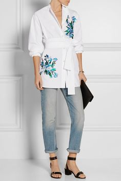 Jonathan Saunders | Alex embroidered cotton-poplin shirt | NET-A-PORTER.COM