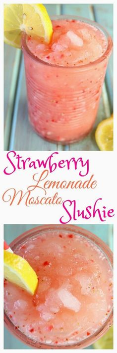 Strawberry Lemonade Moscato Slushie Recipe is a delicious cocktail for summer pa…