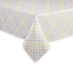 A fresh traditional look that marks the change of season, the Spring Splendor Gingham Tablecloth brings a playful checkered print to your living space. The durable polyester fabric is machine washable while the soft pastels add elegance to the table.