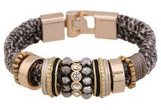 Bracelet - leather brown / gold