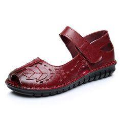 SOCOFYVrouwenEchteLeerHollowOut Flat Loafers