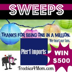 Wouldn't it be fun to win a 500 DOLLAR Pier 1 Imports Gift Card? 20 lucky people will win http://freebies4mom.com/2013/01/24/pier1/