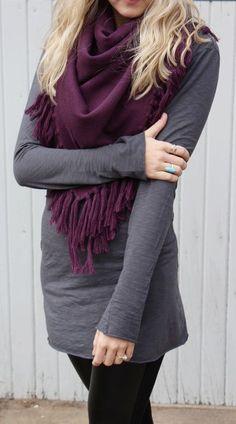 #winter #fashion / burgundy scarf + knit