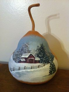 Hand Painted Wintery Barn Scene Gourd by PappysPaintings on Etsy, $12.00