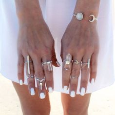 Sun, moon, stars. rings #accessories #jewelry #stackable