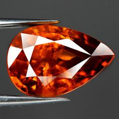 2.47CT.FULL FIRE! PEAR FACET ORANGE MADEIRA NATURAL SPESSARTITE GARNET NAMIBIA #GEMNATURAL