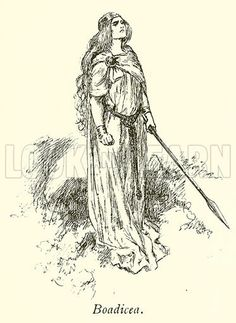 Boadicea.  Illustration for Heroes & Heroines of English History (Ernest Nister, c 1895).