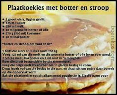 Plaatkoekies Baking Recipes, Cookie Recipes, Dessert Recipes, Desserts, Pancakes, Waffles, Kos, Old Fashioned Bread Pudding, African Dessert
