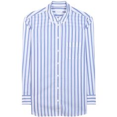 Equipment Margaux Striped Cotton Shirt (375 AUD) ❤ liked on Polyvore featuring tops, white, stripe shirt, white striped shirt, white cotton tops, white shirt and shirt top