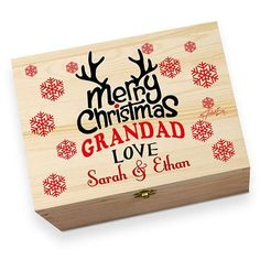 Personalised Merry Christmas Grandad Large Rustic Printed Christmas Eve Box Christmas Eve Box, Before Christmas, Kids Christmas, Christmas Crafts, Merry Christmas, Xmas, Wooden Boxes, Envy, Campaign