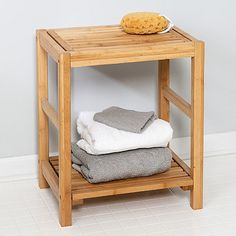 This Bamboo Spa Storage Bench will add seating and a unique storage option to your bathroom! It is perfect for extra towels and other bathroom essentials! Bathroom Bench, Bamboo Bathroom, Bathroom Spa, Bathroom Storage, Bathroom Ideas, Bathroom Cabinets, Bathroom Shelves, Bathroom Organization, Master Bathroom