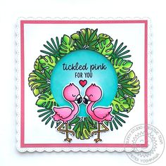 Sunny Studio Stamps Fabulous Flamingos Wreath Window Card by Mendi Yoshikawa (using Fancy Frames Square Dies) Adorable card by Rainbow Words, Sunnies Studios, Pretty Pink Posh, Polka Dot Background, Window Cards, Flamingo Print, Ocean Themes, Some Cards, Clear Stamps