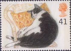 UK--Cats 41p Stamp (1995) Fred (black and white cat).  Why am I putting these on the Cats board instead of Stamps?  Need I answer?  (Grin)
