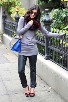 Gray Cowl Neck Sweater and Black Pants
