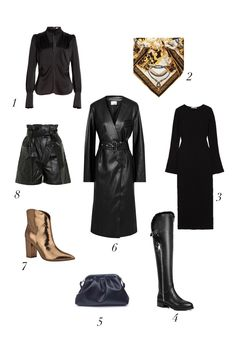 """Based on the current black leather trend inspired by the nineties and the """"Matrix"""" style, I picked some ideas from my favorite designers and I imagined these easy black leather looks using key pieces of the moment. I used options that work mostly day and night. #blackleathertrend #leatherskirtoutfit #leathercoatoutfit #leatherpantsoutfit #falloutfit #autumnoutfit #falloutfitideas #fall2020trends #howtowearleather"""