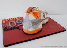 Sugar Sweet Cakes and Treats: Running Sneaker Shoe Cake Running Sneakers, Running Shoes For Men, Shoes Sneakers, Petal Dust, Espadrilles, Cold Cake, Shoe Cakes, Cake Board, Vanilla Buttercream