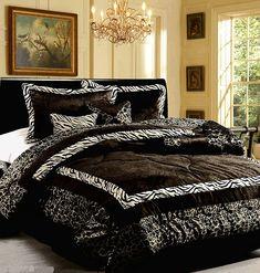 Zebra Print Comforter Set, Queen - Black White