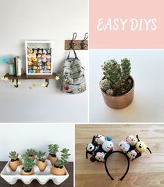Here is a list of easy DIYs — from eggshell gardens and copper cap planters to Tsum Tsum Mickey ears and a caterpillar toddler craft.