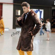 British Mens Long Knee Faux Fur Luxury Coat Parka Trench Winter Fashion Clothing | eBay