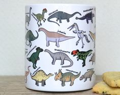 Dinosaur Alphabet Mug gift for dinosaur lover by BeckaGriffin