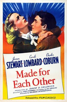 Made For Each Other - Carole Lombard, James Stewart, Charles Coburn, Lucile Watson David O Selznick, Louise Beavers, Christian Marclay, Film Genres, Carole Lombard, Classic Movies, Vintage Movies, Classic Hollywood, Hollywood Picture