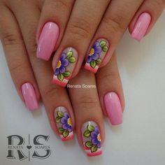 Unhas Decoradas com Flores Flower Nail Designs, Cool Nail Designs, Pretty Nail Art, Cool Nail Art, Diva Nails, Hot Nails, Flower Nails, Simple Nails, Spring Nails