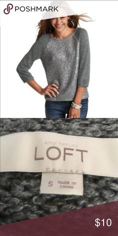 Ann Taylor LOFT Foil Print Grey Sweater Size S Ann Taylor LOFT Foil Print Grey Sweater Size S A shimmery foil print adds dazzling Cute to this must have casual Sweater with 3/4 sleeves. LOFT Sweaters