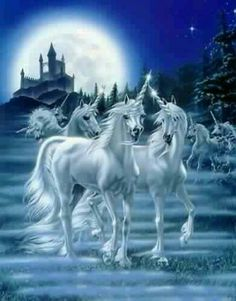 More unicorns in the moonlight in front of a fantasy castle.