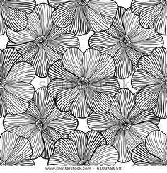 wavy linear flower contour seamless pattern. monochrome flower ornament. abstract print design. endless background