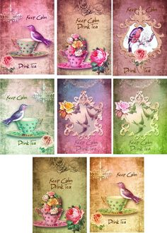 Vintage Inspired  Keep Calm Drink Tea Note Cards Tags Atc Altered Art Set  6