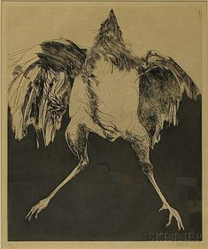 Artwork by Leonard Baskin, Untitled (Bird), Made of Etching and aquatint on paper