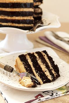 Chocolate Espresso Cake with Fluffy Peanut Butter Frosting and a Rum Drizzle from Creative-Culinary.com