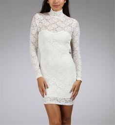 White Mock Neck Lace Dresses