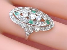 ANTIQUE EDWARDIAN to DECO 1.17ctw DIAMOND EMERALD PLATINUM COCKTAIL RING 1930 #Unbranded #ArtDecoCocktail