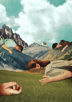 collage work created by French Illustrator, Julien Pacaud Surreal Collage, Surreal Art, Collage Landscape, Arte Pop, Photomontage, Trucage Photo, Julien Pacaud, Art Zen, Kunst Online