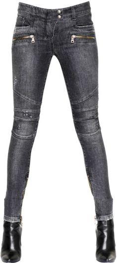 BALMAIN Black Stretch Cotton Denim Jeans #style #fashion #jeans