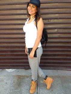 fashion,fblogger,blog,newyork,timbs,cap,leather,sweats,girl,