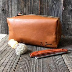 Personalized Dopp Kit - Mens Toiletry Bag - Leather Toiletry Bag -  Groomsman Gift - Tan Bovaria d65c510e9324f