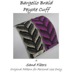 Peyote Pattern - Bargello Braid Peyote Cuff / Peyote Bracelet  - A Sand Fibers Original Beadweaving Pattern - 3 for 2 Program. $14.00, via Etsy.