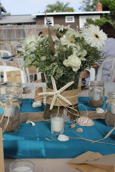 Beach themed centerpiece for a wedding