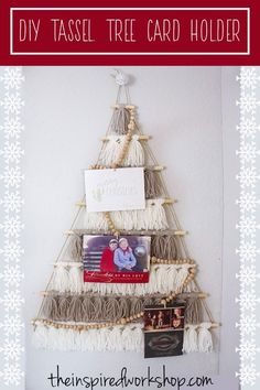 DIY Tree Card Holder Made of Tassels - Such a cute craft project to wrangle your Christmas cards and display them beautifully! Stay warm inside while creating this craft project this holiday season!