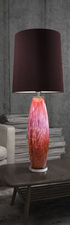 Provence Autumn Table Lamp from Heathfield & Co Lighting, mould blown using a harmonious colour palette of glass powders and frits, shown red, pink and green. Creative Lighting, Living Room Lighting, Red Lamp, Instyle Decor, Beautiful Lamp, Red Table Lamp, Hotel Light, Room Lights, Autumn Table