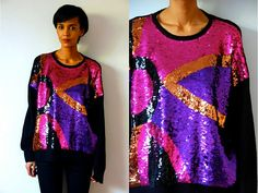 Vtg Sequined Purple Pink Gold Black Oversize by LuluTresors, $32.99