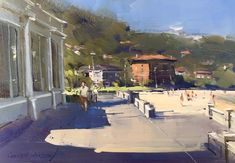 """Colley Whisson      Richard Schmid """"Never knowingly leave mistakes"""" Edwards Beach Pavilion, Sydney. 7""""x 10"""" Oil."""