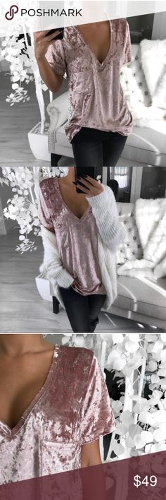 NEW Frosted Rose Crushed Velvet Top So gorgeous! New without tags. Trying to make room in my closet. Reposh &  from @itselaine  ▫️Price is firm unless bundled. ▫️10% bundle discount on 2+ items. Tops Tees - Short Sleeve