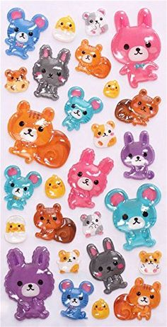 hard rabbit mouse 3D stickers by Mind Wave from Japan: Amazon.co.uk: Toys & Games