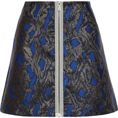 Markus Lupfer Dora metallic jacquard mini skirt ($150) ❤ liked on Polyvore featuring skirts, mini skirts, high-waist skirt, high-waisted skirts, high waisted mini skirt, print mini skirt and a line skirt